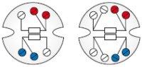 Märkning av kopplingsplintar för enkla och dubbla Pt100-givare. Vit och gul färg markeras inte. Avvikande färger kan förekomma