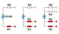 Färgmärkning för anslutningskabel till 2-, 3- och 4-trådskopplade enkla Pt100 enligt IEC 60751. Ena sidan av Pt100an ansluts till rödmärkta ledare, den andra till vita.