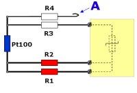 Korrekt inkoppling av 4-tråds Pt100 till 3-trådsindikator. En av ledarna, godtyckligt vilken, måste parkeras oansluten. Se A.
