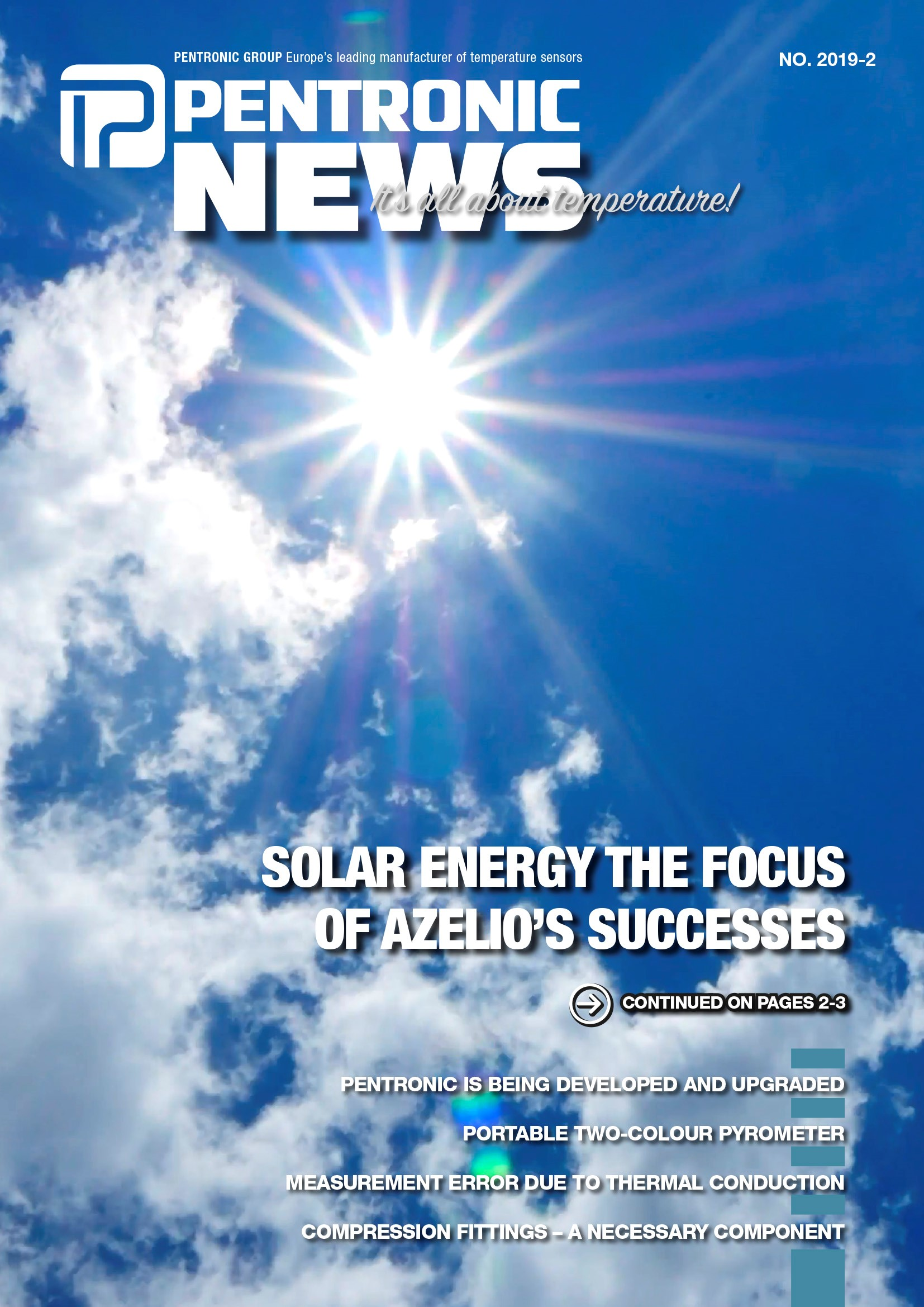 Pentronic News 2019-2 with an article about Azelio that develops plants for converting solar energy into electricity